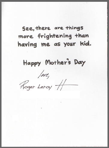 Mother's Day inside card
